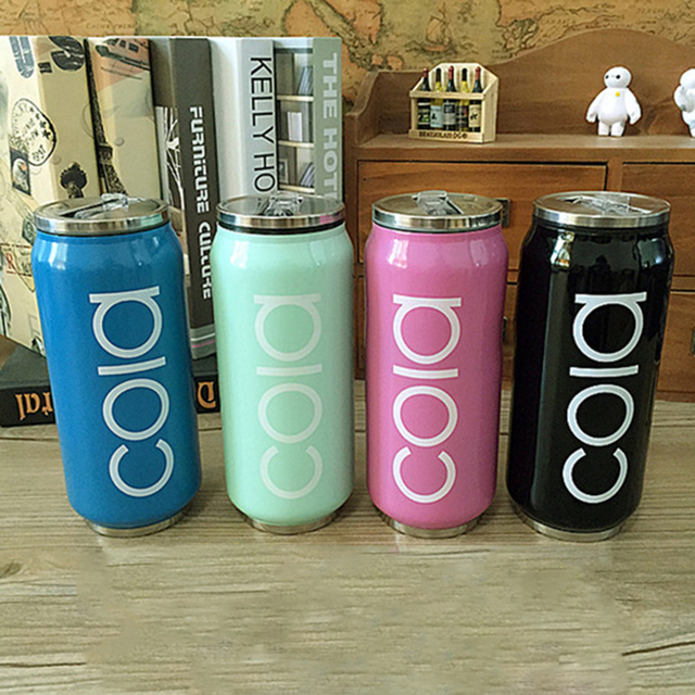 400ml New Stainless Steel Thermos Mug Beverage Can Thermocup Vacuum Flasks Straw Water Bottle