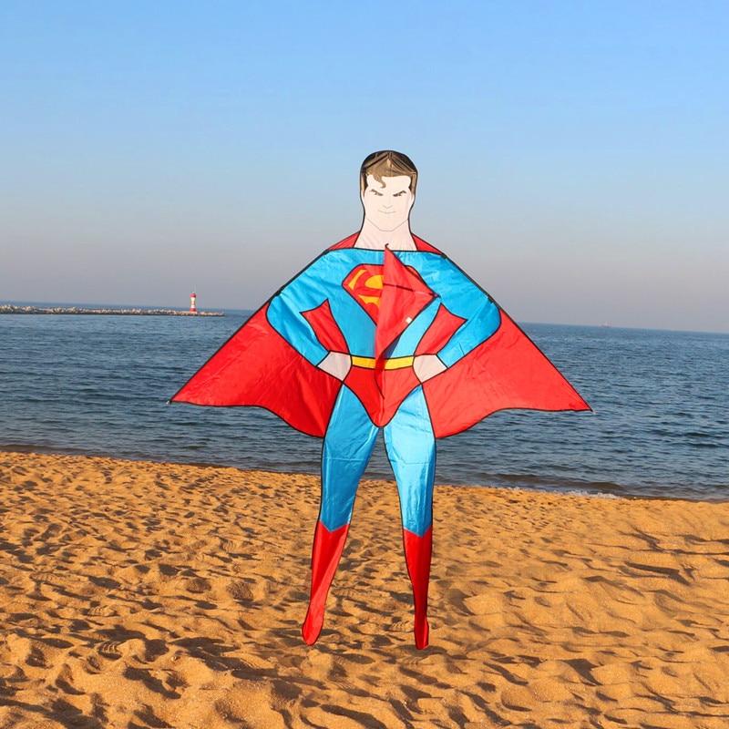 Freies verschiffen hohe qualität neue stil 2 mt superman kite große drachen mit griff linie kind liebe outdoor spielzeug wei drachen