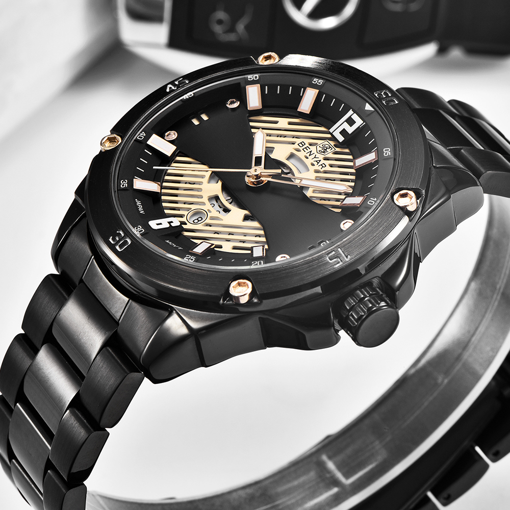 Nowa luksusowa marka mężczyzna zegarek kwarcowy BENYAR moda codzienna biznes zegarek wodoodporny mężczyzna sport data zegar Relogio Masculino w Zegarki kwarcowe od Zegarki na title=