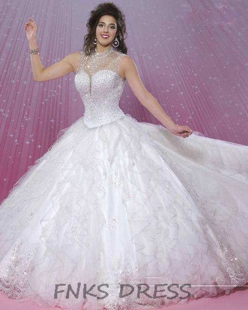 Branca de neve Borla Frisado Alta Neck Vestidos Quinceanera vestidos de 15 Apliques Ruffles vestido de Baile Doce 16 Debutante Vestido FQD05