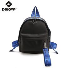 DOLOVE Fashion Color Bump Backpack Letter Student Single - Shouldered Slant -Span Nylon Travel Bag School Bags