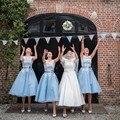 New Designs 2016 Vestidos De Madrinha De Casamento Blue Organza Maid of Honor Dresses  Cheap Tea Length Bridesmaid Dresses