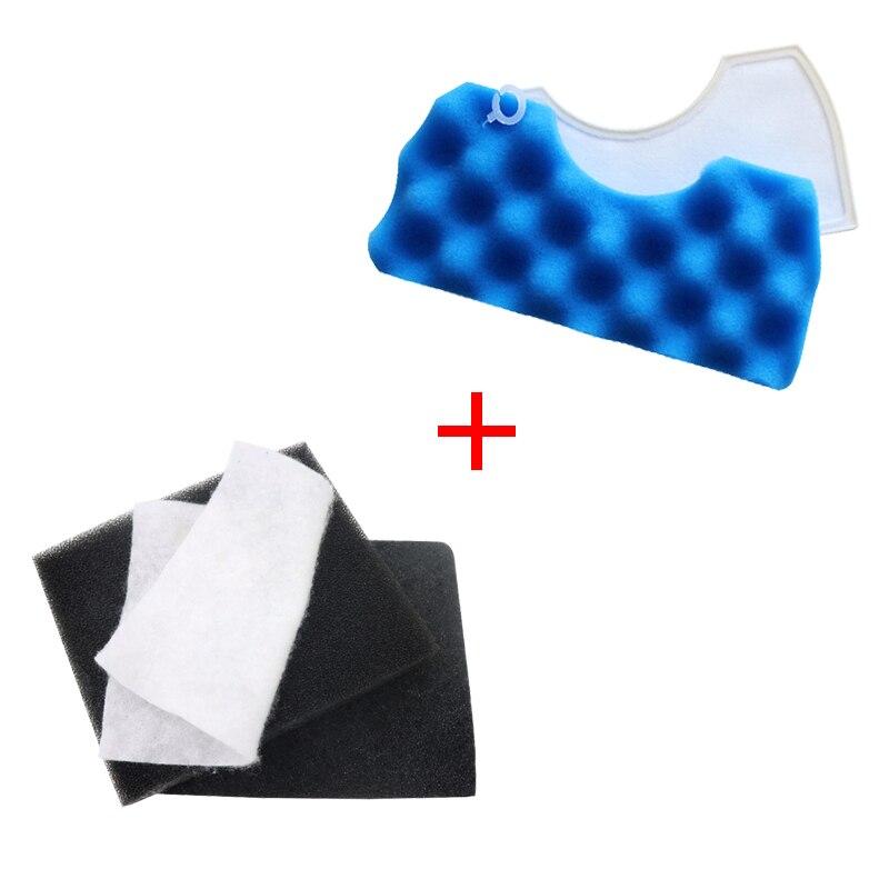 1 ensemble bleu éponge filtre + 1 ensemble poussière Hepa filtre pour Samsung DJ63-00669A SC43-47 SC4520 SC4740 VC-9625 VC-BM620 aspirateur