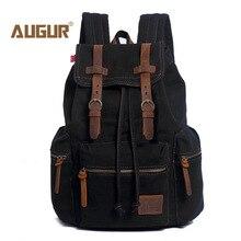 Augur Backpack Student College Cotton Canvas Backpack Men Women Material Escolar Mochila Quality Brand Laptop Bag Backpack Blue