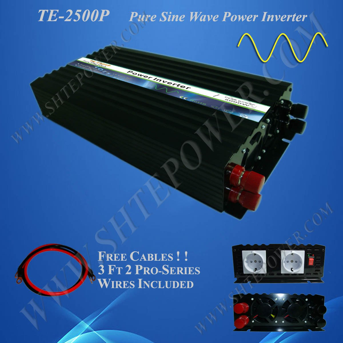 Off Grid Solar Power Inverter, 2500w 24vdc to 120vac inverter, Pure Sine Wave Power Invertor