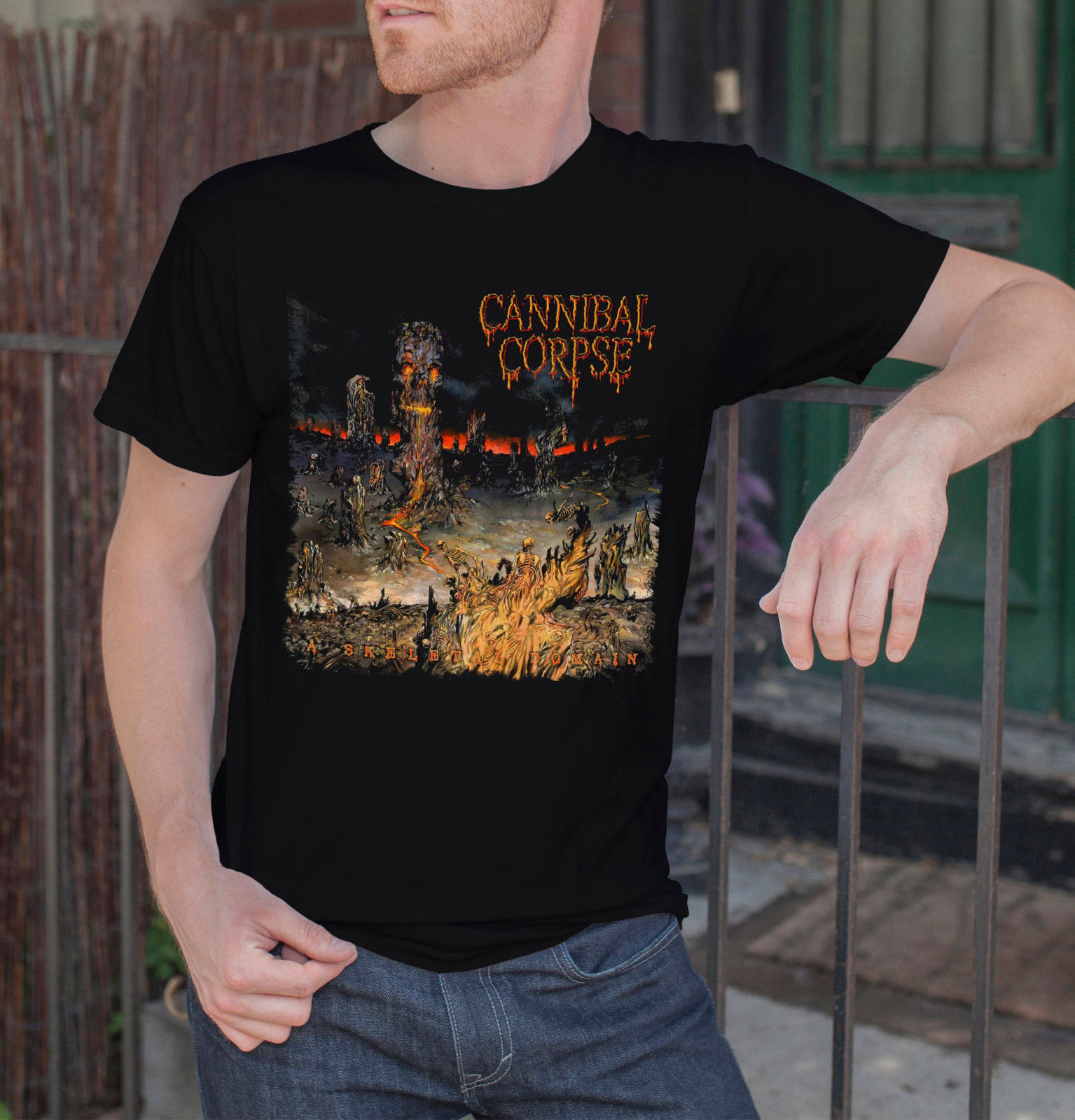 CANNIBAL CORPSE A Skeletal Domain Men Black T-Shirt Death Metal Band Tee Shirt Cool Funny T-Shirt Men High Quality Tees