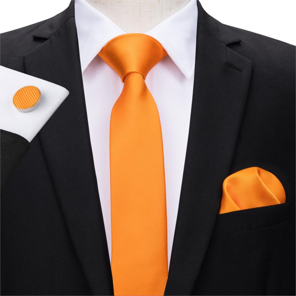 Mens/' Skinny Tie Orange Green White Checks 6CM Thin Wedding Tie Formal Neck Ties