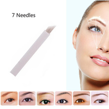 100PCS 7 Pin Permanent Makeup Eyebrow Tatoo Blade Microblading Needles For 3D Embroidery Manual Tattoo Pen Machine