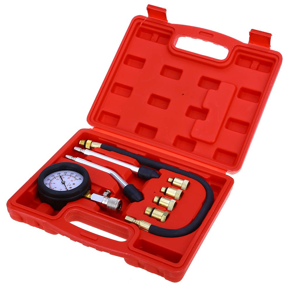 9 PCS Petrol Gas Engine Cylinder Compressor Gauge Meter Test Pressure Compression Tester Leakage Diagnostic Post Free