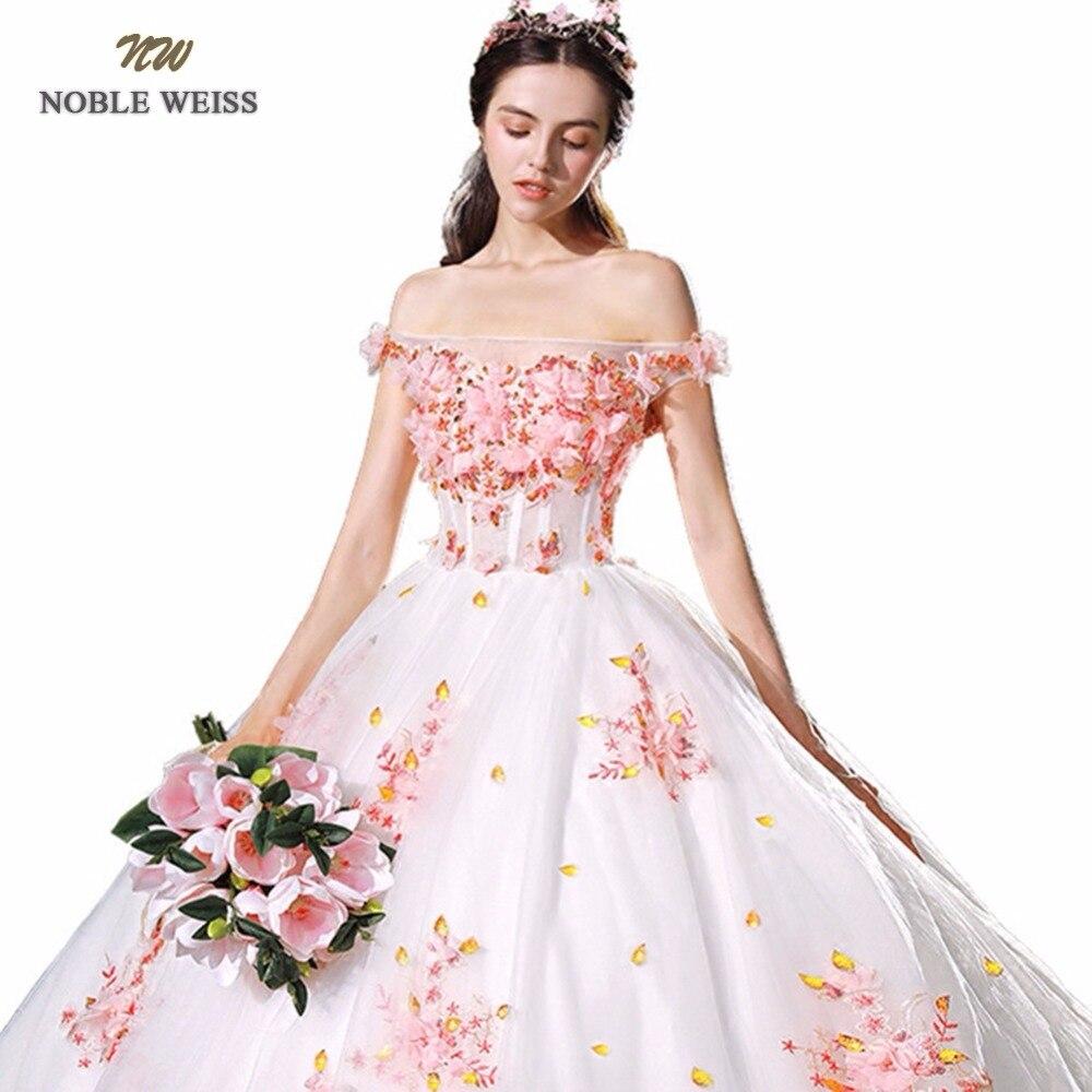 Vestido De Noiva 2018 Princess Wedding Dress Ball Gown Off: Appliques Flower Ball Gown Wedding Dress 2018 BoatNeck