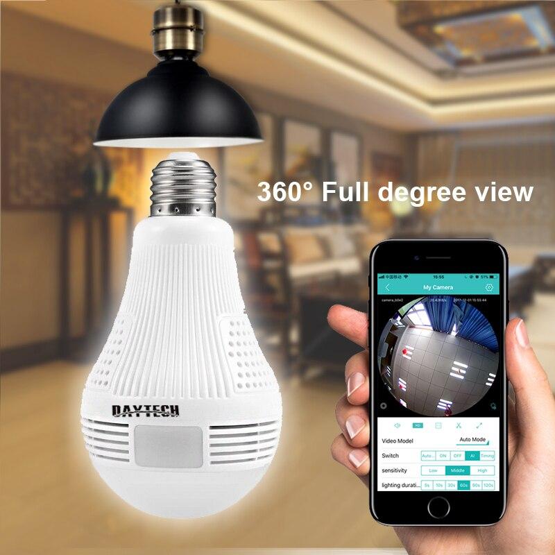 DAYTECH Wireless IP Kamera WiFi Panorama Fisheye Überwachung Kamera 1080 p 960 p 360 Volle Grad Ansicht Engel Lampe Licht