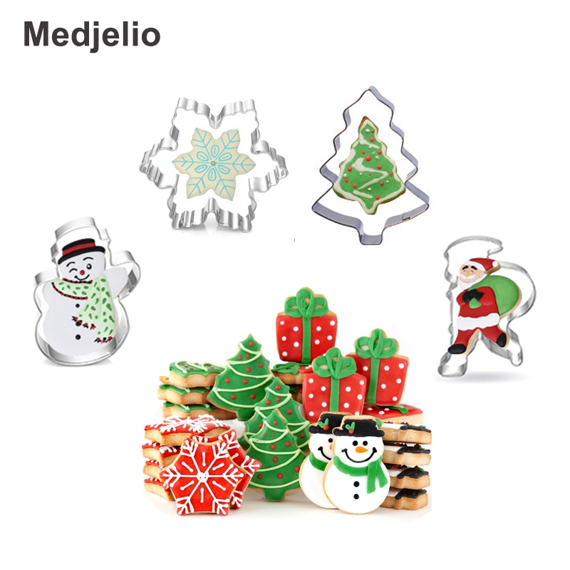 Medjelio 4PCS Christmas tree Biscuit Mould Stainless Steel Snowflake snowman Santa Claus Cookie Molds DIY Baking Pastry cutter