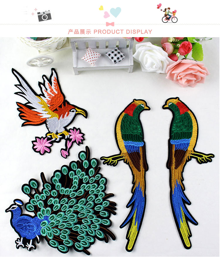 2PCS Retro Birds/eagle/horse/peacock embroidered cloth patch Clothes diy decorative stickers affixed adhesive accessories AC293