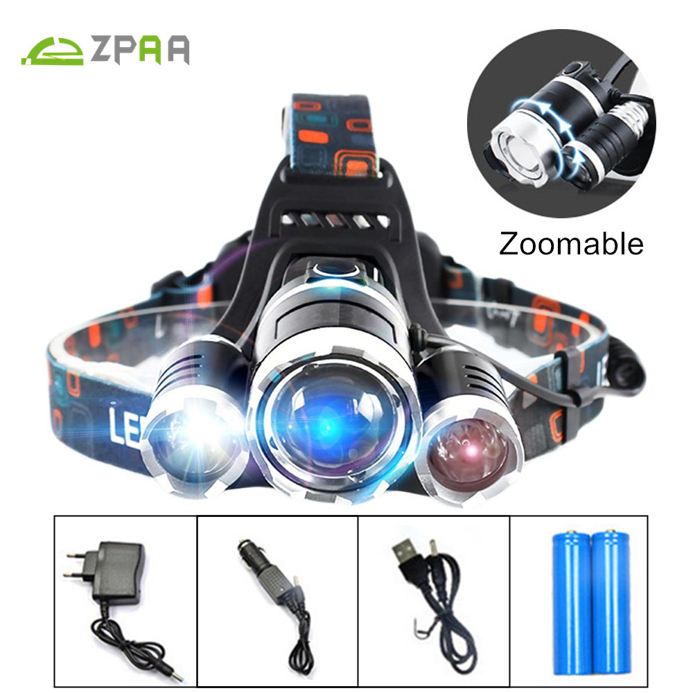 12000LM 3 CREE XML T6 LED Headlamp Headlight Head Lamp Light Zoom Fishing Hunting Torch Lantern