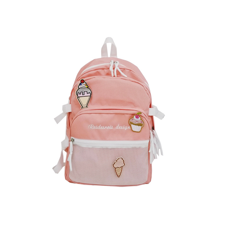 Japanese College Wind Lolita Girl Cute Backpack Cartoon Ice Cream Shoulder Bag Fashion Lady Rucksack Back Pack for School