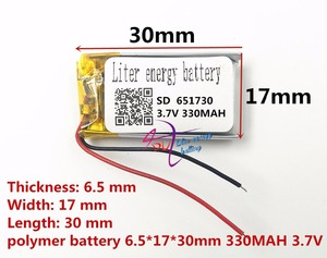Image 2 - best battery brand 3.7v lithium polymer battery 651730 330MAH small toys MP3 MP4 GPS navigation mobile power