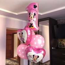 6pc Baby Mickey Minnie Mouse Birthday Balloon Blue Pink 1st
