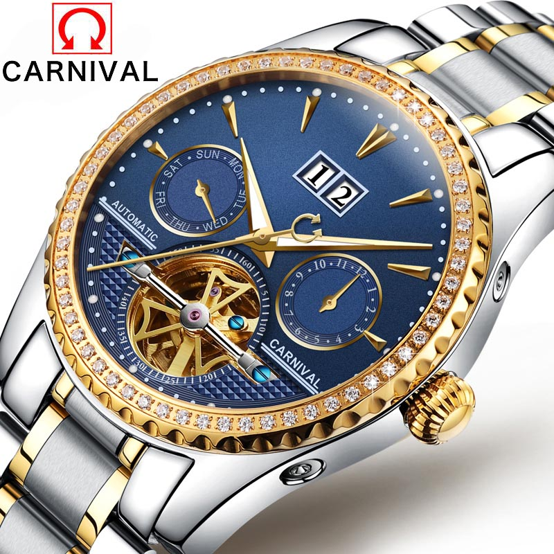 2016 Men Self Winding Mechanical Watch Carnival Luxury Brand Watches stainless steel Automatic Men Watches Relogio Masculino unique smooth case pocket watch mechanical automatic watches with pendant chain necklace men women gift relogio de bolso