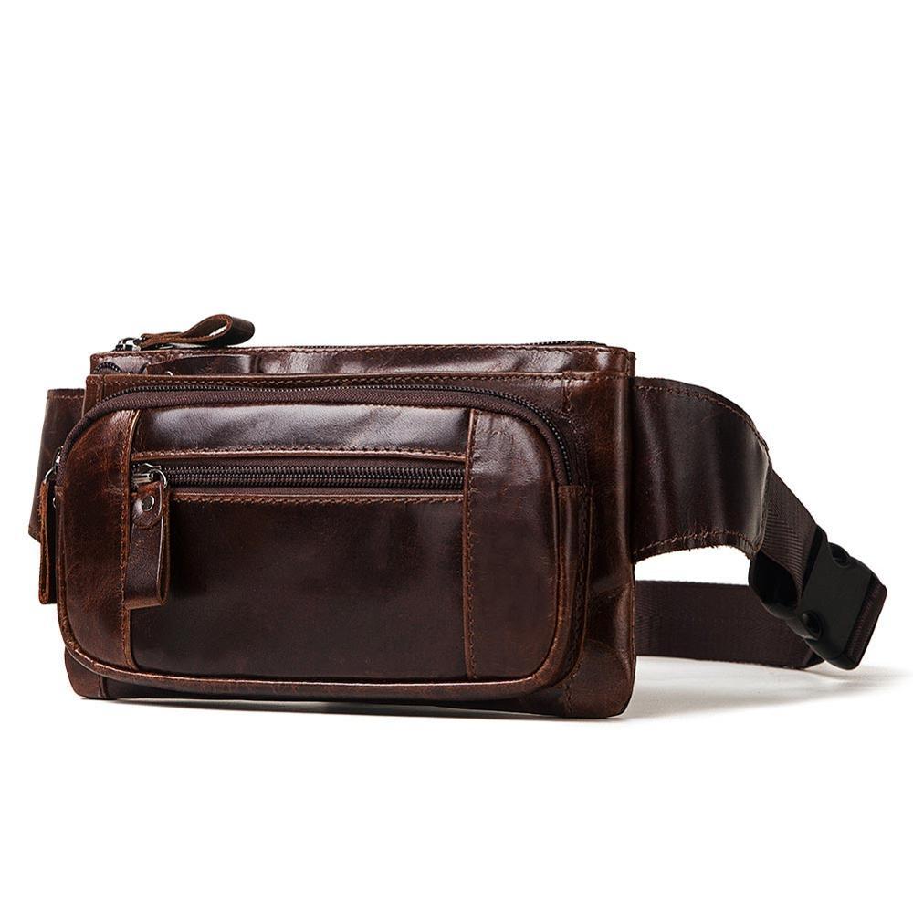 KAVIS Vintage 100% Cowhide Genuine Leather Men Waist Bag Male Packs Belt Loops Chest Bag Mobile Phone Holder Pouch Male Purse Men messenger style bags cb5feb1b7314637725a2e7: Black|Brown|coffee