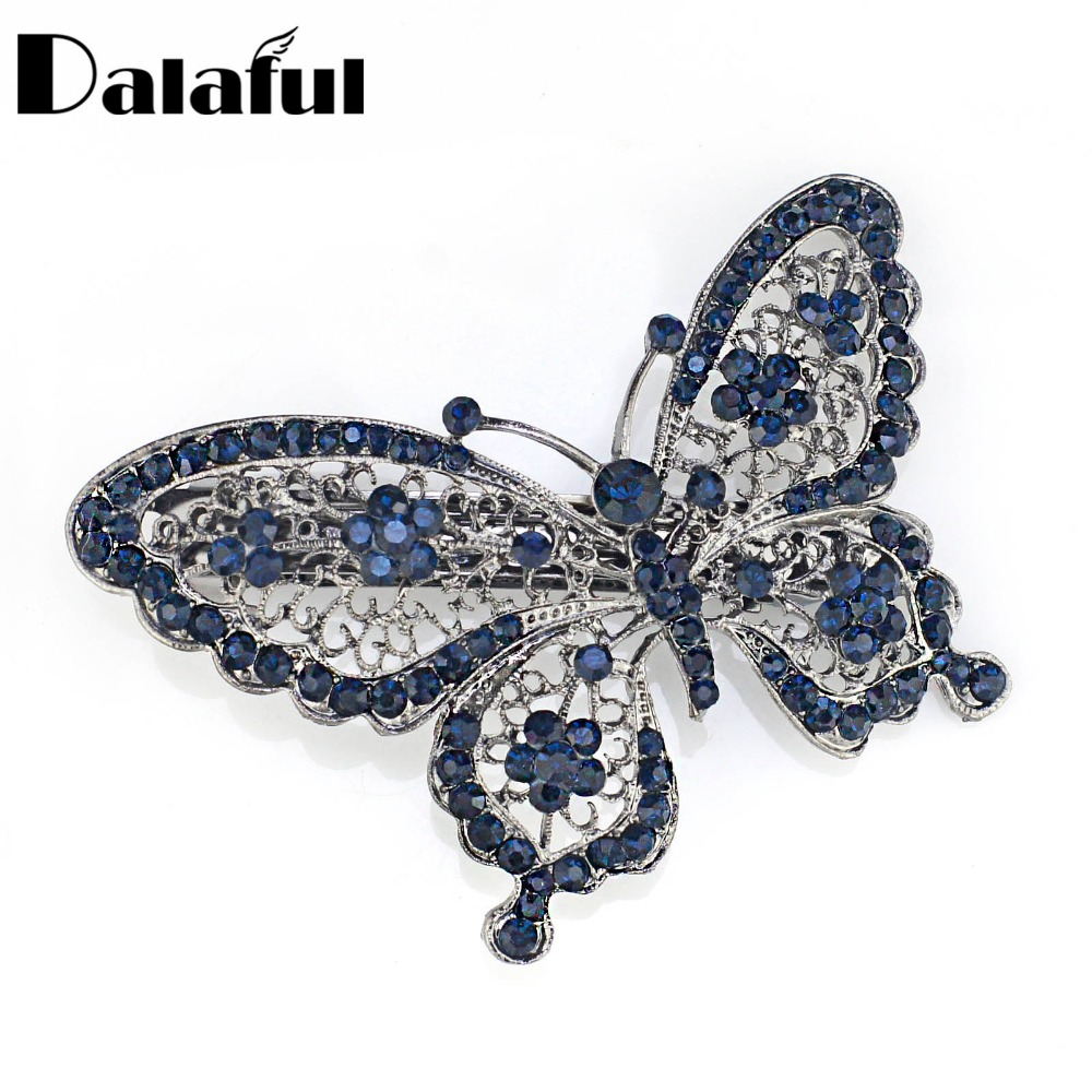 Amazing Butterfly Hairpin Blå Crystal Headwear Barrette Hair Clip Headwear Tillbehör Smycken För Woman Girls F109