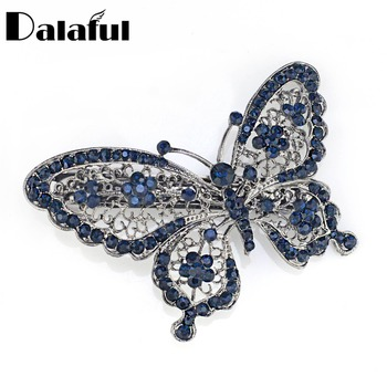 Niesamowite Butterfly szpilka niebieski kryształ nakrycia głowy Barrette spinki do włosów akcesoria do nakrycia głowy biżuteria dla kobiet dziewczyn F109 tanie i dobre opinie Moda Hairwear Zwierząt Hairgrips Dalaful TRENDY Ołowiu i cyny ze stopu F110