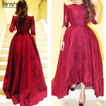Rosy Evening Dresses Sleeves Boat Neck Sexy Red High Low Prom Dresses Lace Corset Party Gowns