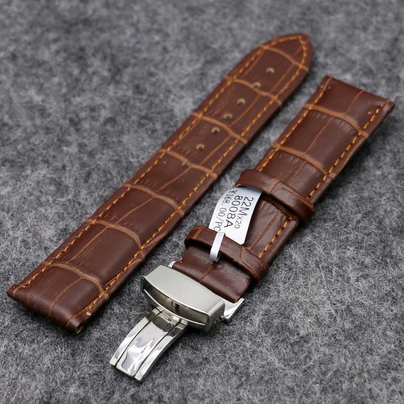 Black/Brown High Quality Genuine Leather Watch Band Men Women Wrist Watches Strap Butterfly Buckle 18/20/22mm PD0132-3 high quality genuine leather watchband 22mm brown black wrist watch band strap wristwatches stitched belt folding clasp men