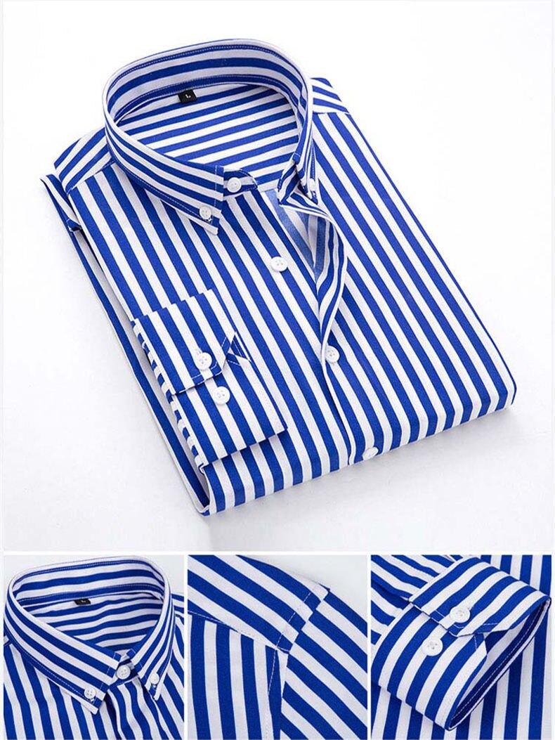 5XL Plus Large Size Striped Shirts Men Long Sleeve Casual Autumn Spring Classic Male Shirts Non-Iron Dress Shirts Man Muls Brand 7