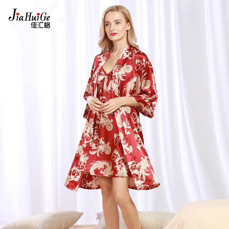 JiaHuiGe 2 Pcs Summer Faux Silk Night Clothes Bath Robe Set Women Bath Robe  and Nightgown Set Womens Sleeping Robe Plus Size-in Robe   Gown Sets from  ... 863666f00