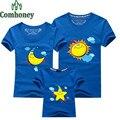 Sun Moon Star família olhar T - camisa para mãe da filha do pai e filho de manga curta verão dos desenhos animados impressão família mesma roupa