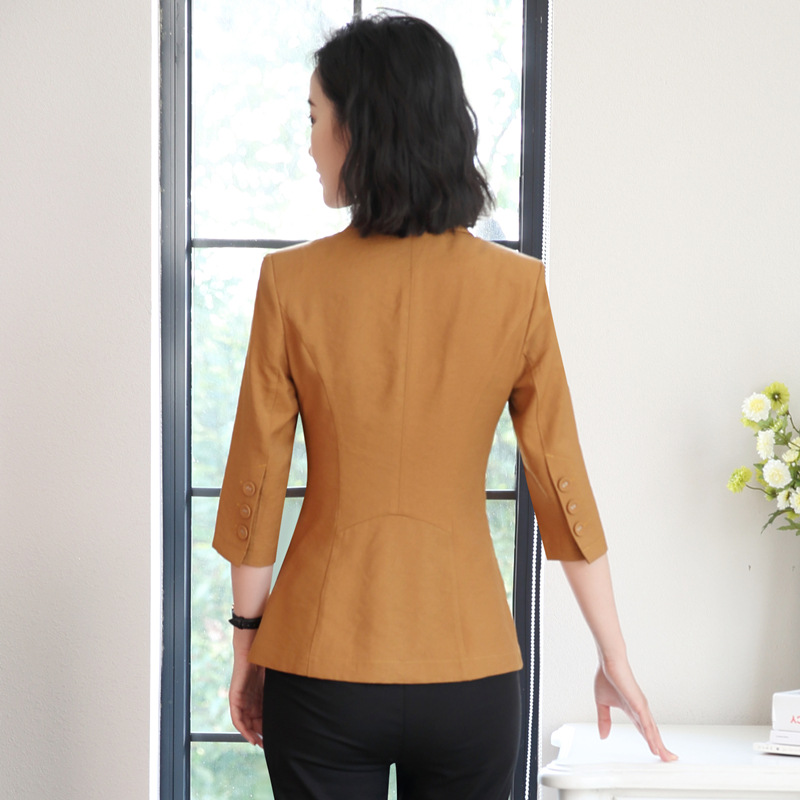 New Women Spring Three Quarter Sleeve Formal Work Jacket Business Suit Plus Size