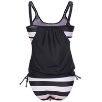 Women Black White Striped Beach Swimsuit Bandage Patchwork Two Pieces Bikinis Set Push Up Strappy Roupa