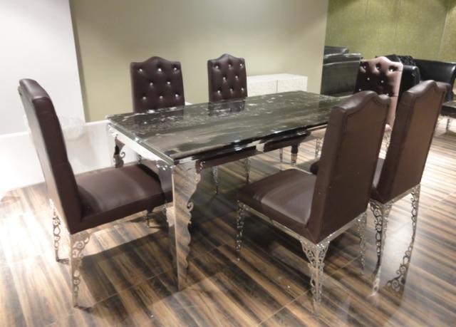 table de salle a manger ensemble table a manger 6 chaises inox marbre meubles salle a