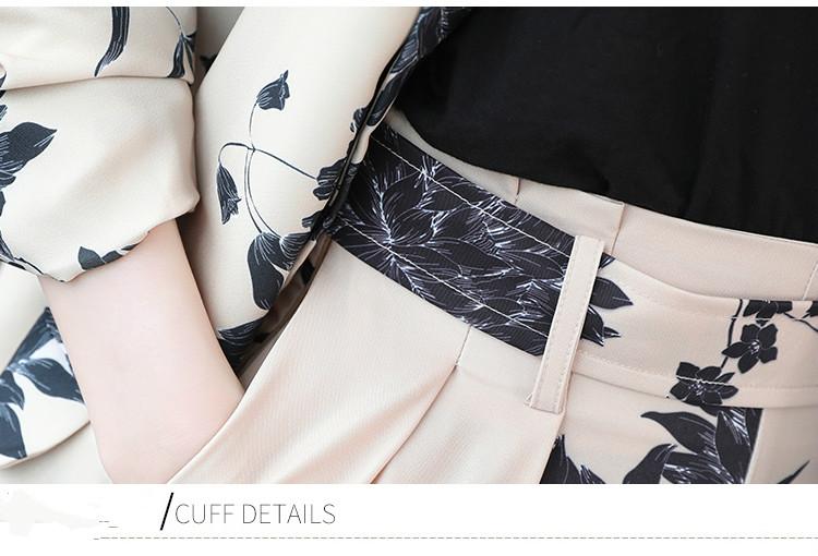YASUGUOJI New 2019 Spring Fashion Floral Print Pants Suits Elegant Woman Wide-leg Trouser Suits Set 2 Pieces Pantsuit Women 39