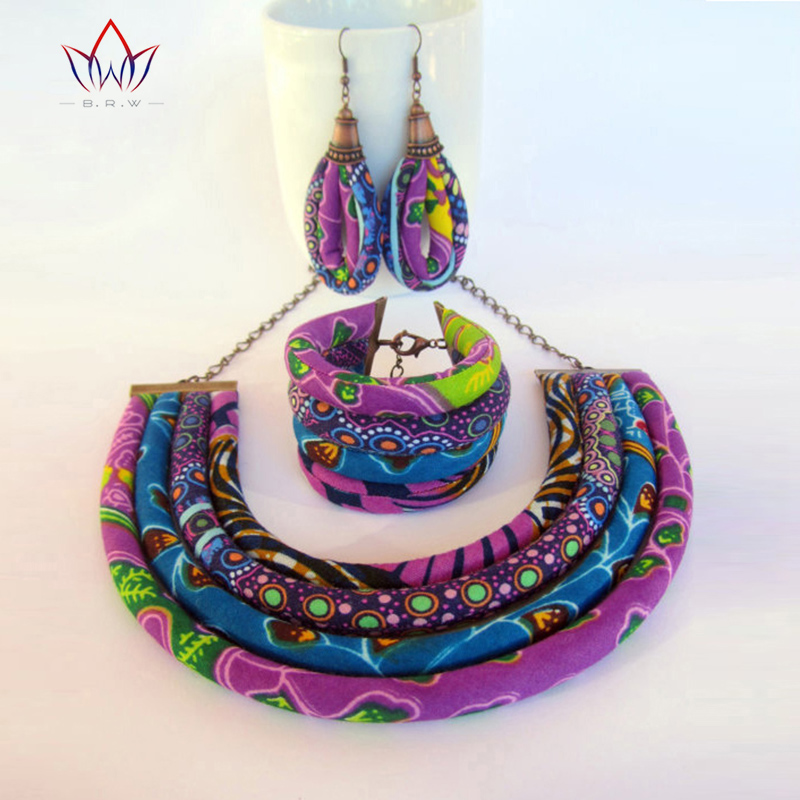 BRW 2017 Ankara Necklace Earrings Bracelet Jewelry Sets African Wax Fabric Print Ankara Jewelry Sets Handmde Accessories WYX12