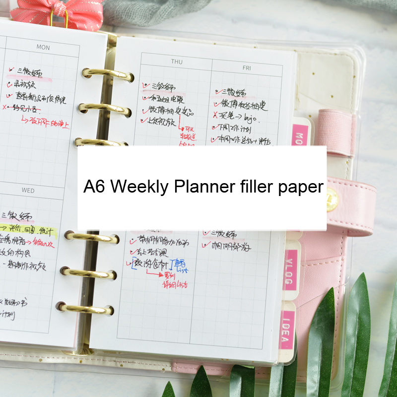 Lovedoki Spiral Notebook Refill A6 Weekly Planner Filler Paper 32 Sheets Schedule Diary Inside Pages Organizer School Supplies
