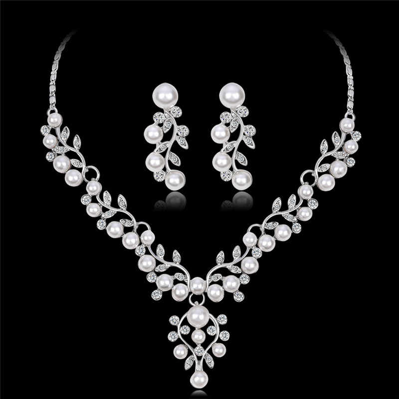 Elegant Simulated Pearl Bridal Jewelry Sets Wedding Jewelry Leaf Crystal Silver Plated Necklaces Earrings Sets