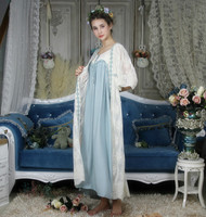 Lace Long Robe 2 Pics Arab Women Classic Vintage Robe Loose Nightgown Ladies Sleepwear Gowns Beautiful Women New Fashion 6 color