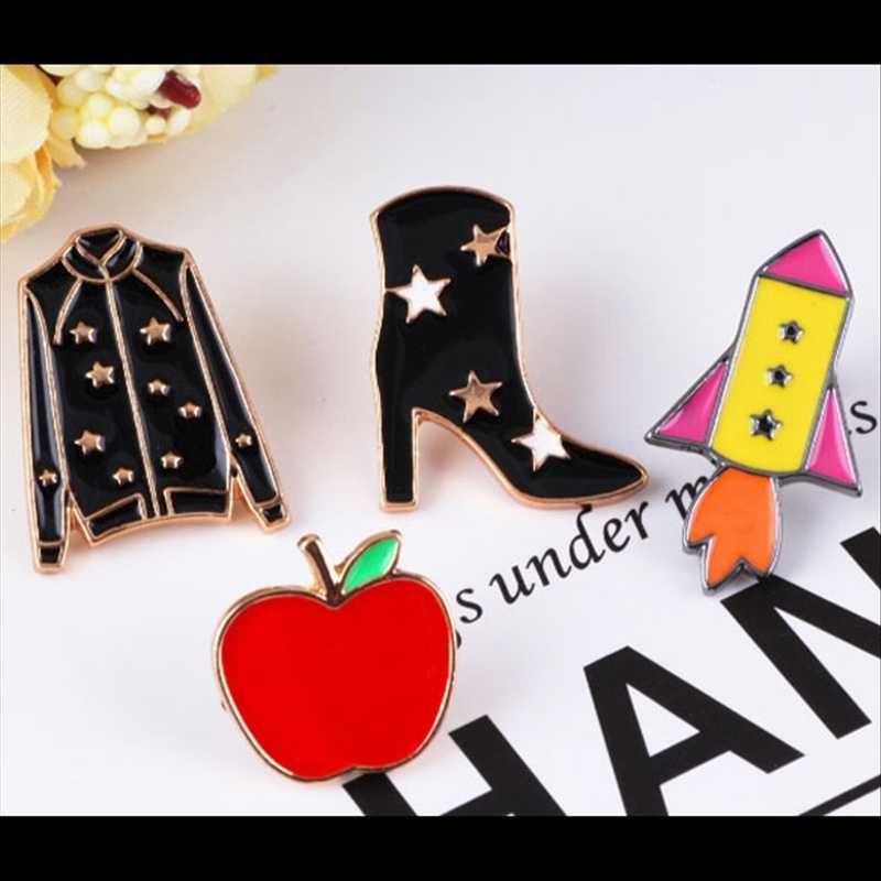 Abrigo de estrella TAFREE, zapatos de tacón alto, alfileres de solapa en forma de cohete broches de aleación ambiental esmalte insignia joyería de moda