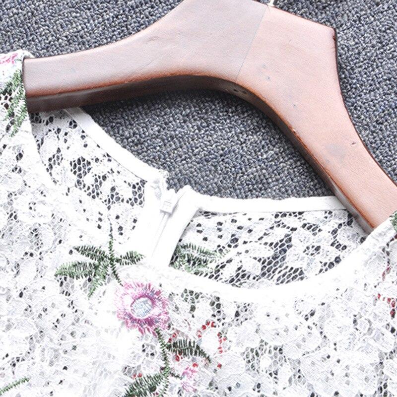 À Robe D'été Une Robes Qualité Manches Haute Dentelle Flare En Ligne Usage 2017 Courtes Lourd Broderie Floral Vintage Dames uTc3JK1Fl5