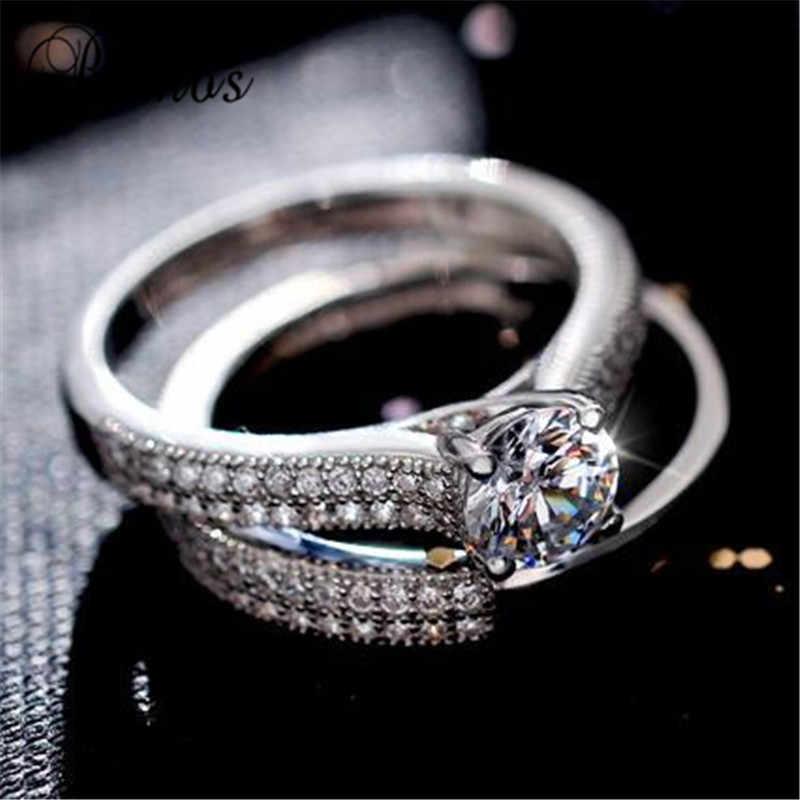 Bamos marca feminino pequeno anel redondo conjunto anel de zircão moda branco/rosa ouro enchido jóias promessa anéis de noivado para mulher