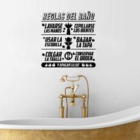 Spanish Bathroom Rules Quotes Vinyl Wall Sticker Children Bathroom Art Design Decals Mural Spanish Wall Sticker