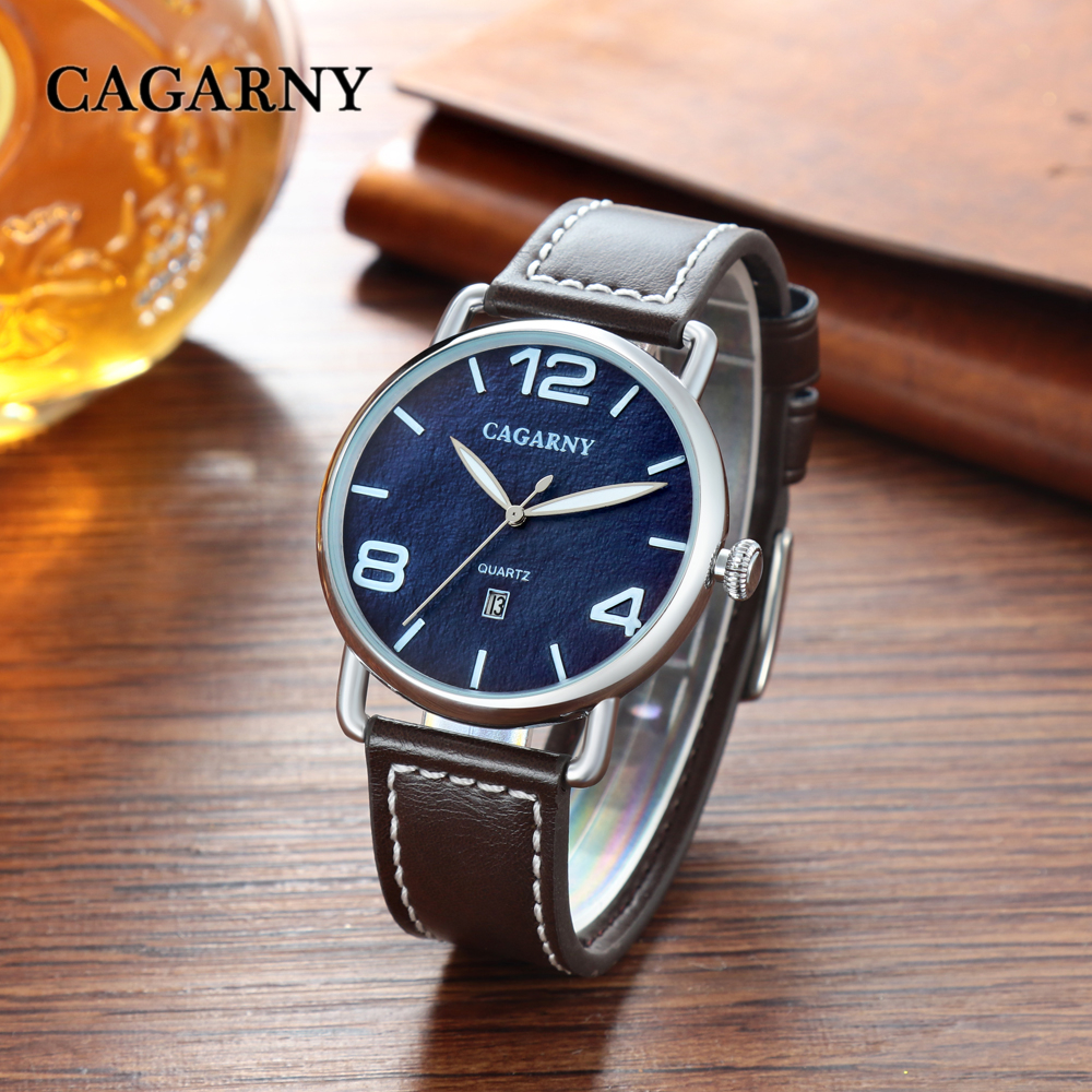 classic design high quality quartz watch men japaness movement genuine leather strap mens watches drop shipping (20)
