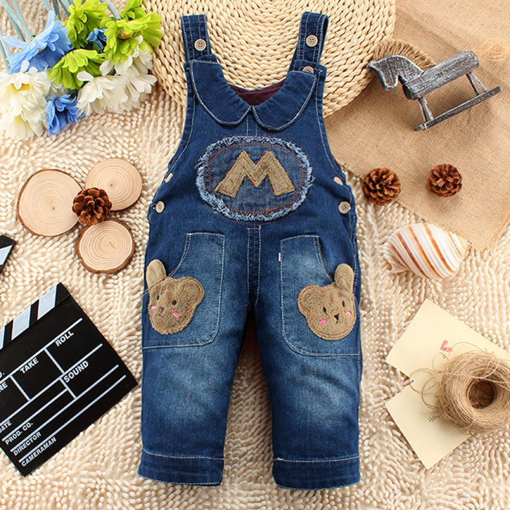 9M-24M Baby Girl Clothing Bebe Boy Overalls M Letter Long Pants Cartoon Kwaii Jumpsuit Denim Jeans Rompers Toddler Clothes iyeal baby girl clothing spring 2017 bebe jeans overalls lace rompers infantil jumpsuit for toddler infant denim coveralls