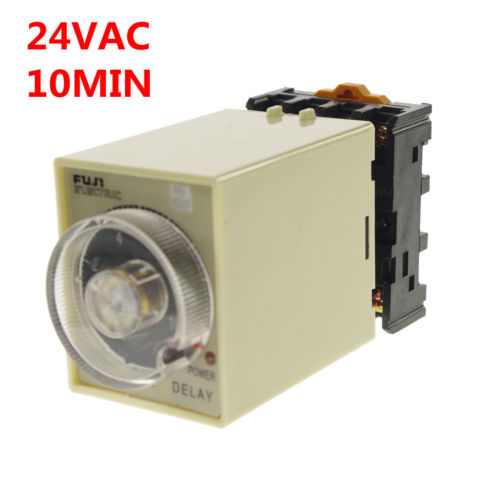24VAC Power off delay timer time relay 0-10min with PF083A Socket Base 5 set lot asy 3d 1 999s ac 220v power on delay timer digital time relay 1 999 second 220vac 8 pin with pf083a socket base