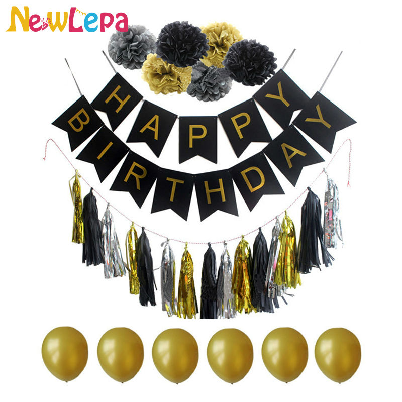 One Set Happy Birthday Banner Paper Pom Paper Tassel Garland Gold Balloons Photo Background Birthday Decoration Party Home Paper