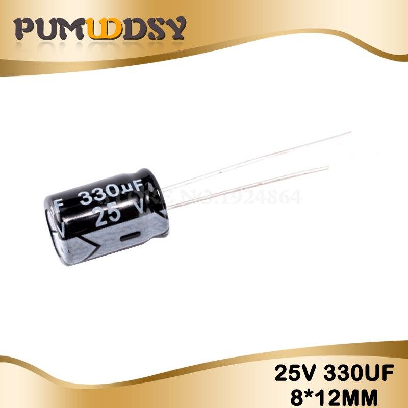 50PCS Higt Quality 25V330UF 8*12mm 330UF 25V 8*12 Electrolytic Capacitor