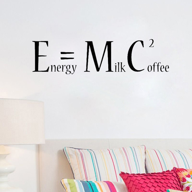 Us 4 68 Coffee Wall Sticker Energy Milk Coffee Squared E Mc2 Removable Wall Decal Funny Kitchen Wall Decor L108 In Wall Stickers From Home