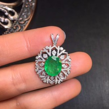 AIGS Fine Jewelry Certificate Real 18K White Gold AU750 Natural Green Emerald 3.22ct Gemstones Pendants for Women Necklace