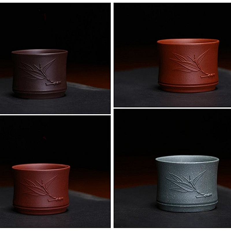 Creative Bamboo joint 60ml Teacup with bamboo leaves kung fu tea set 4 colors host cup Kongfu Tea Cup